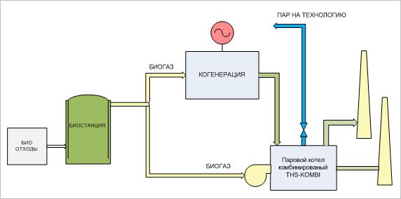 Биогазовая станция  с когенерацией и паровой котельной