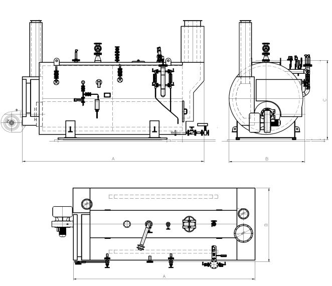 Габариты парового комбинированного котла ТНS-KOMBI  с дополнительной горелкой для утилизации выхлопных газов после газопоршневых установок и газовых микротурбин