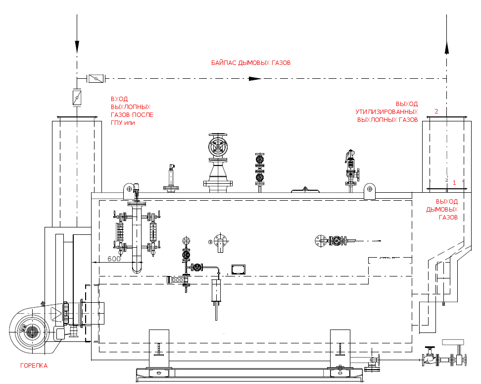Паровой котел утилизатор с горелкой для утилизации выхлопных газов после ГТУ или Микротурбин