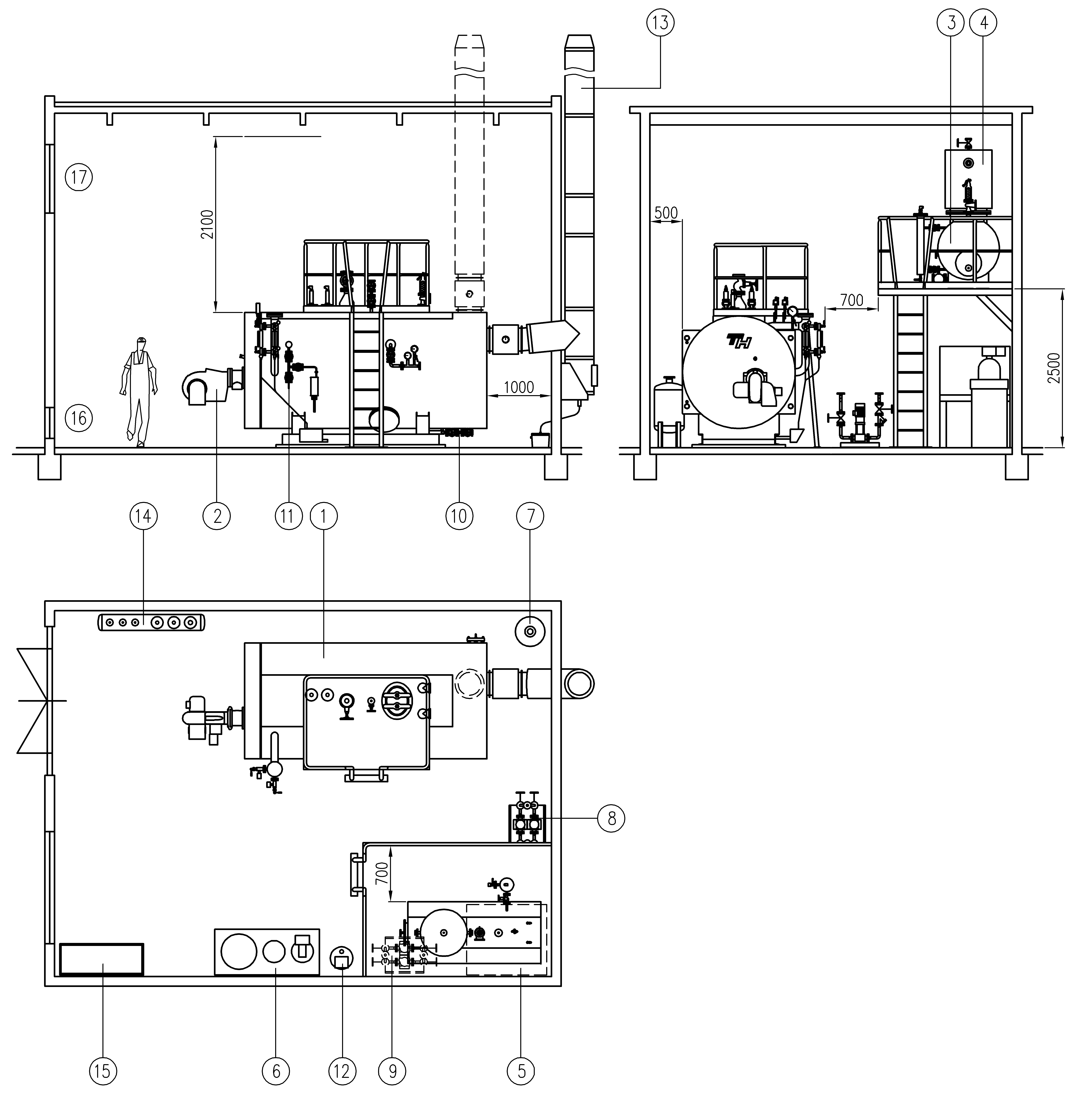 Cостав паровой котельной с паровыми котлами-утилизаторами среднего давления ТНS
