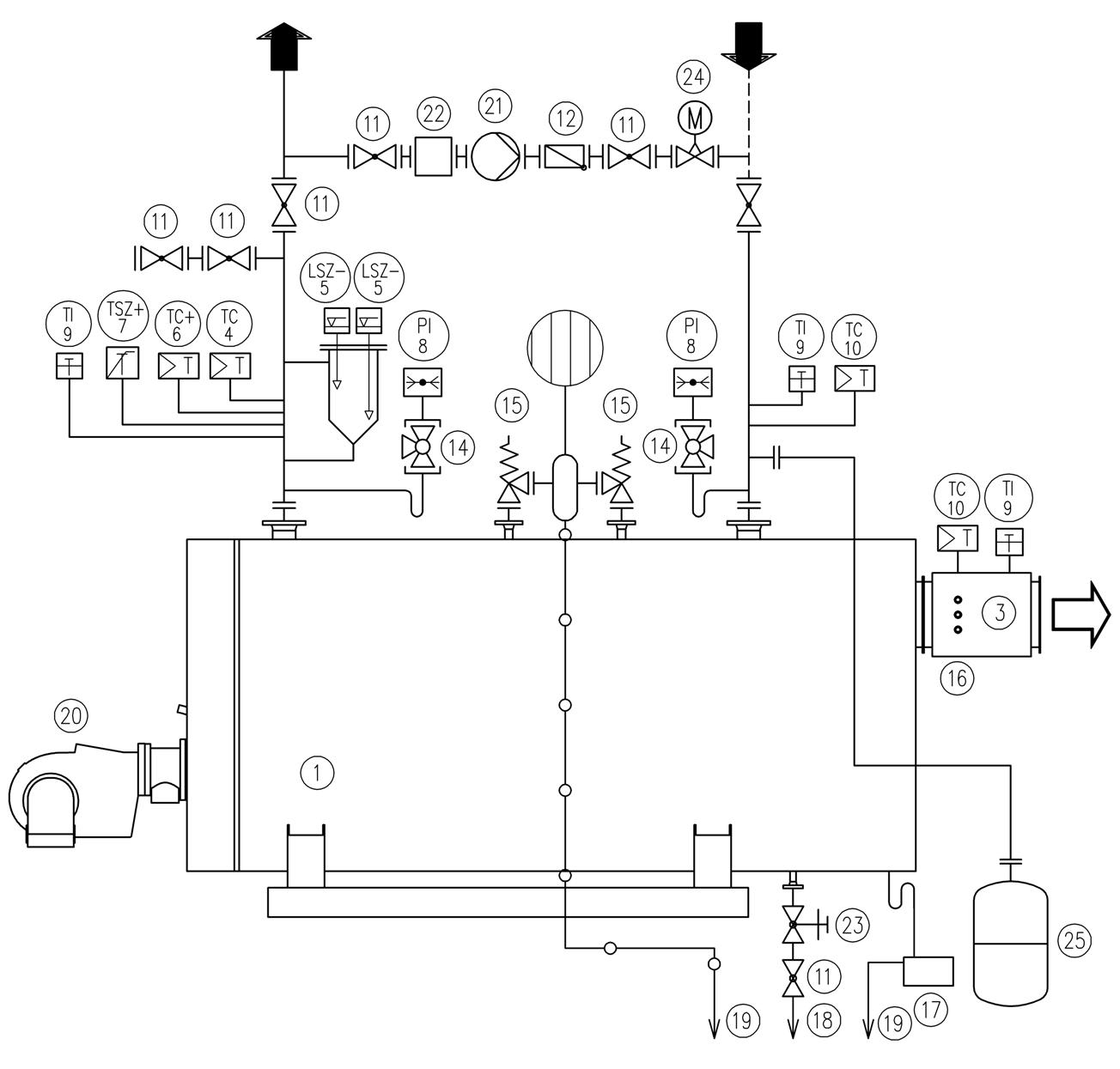 Схема подключения  THH-I водогрейного котла на перегретой воде без экономайзера