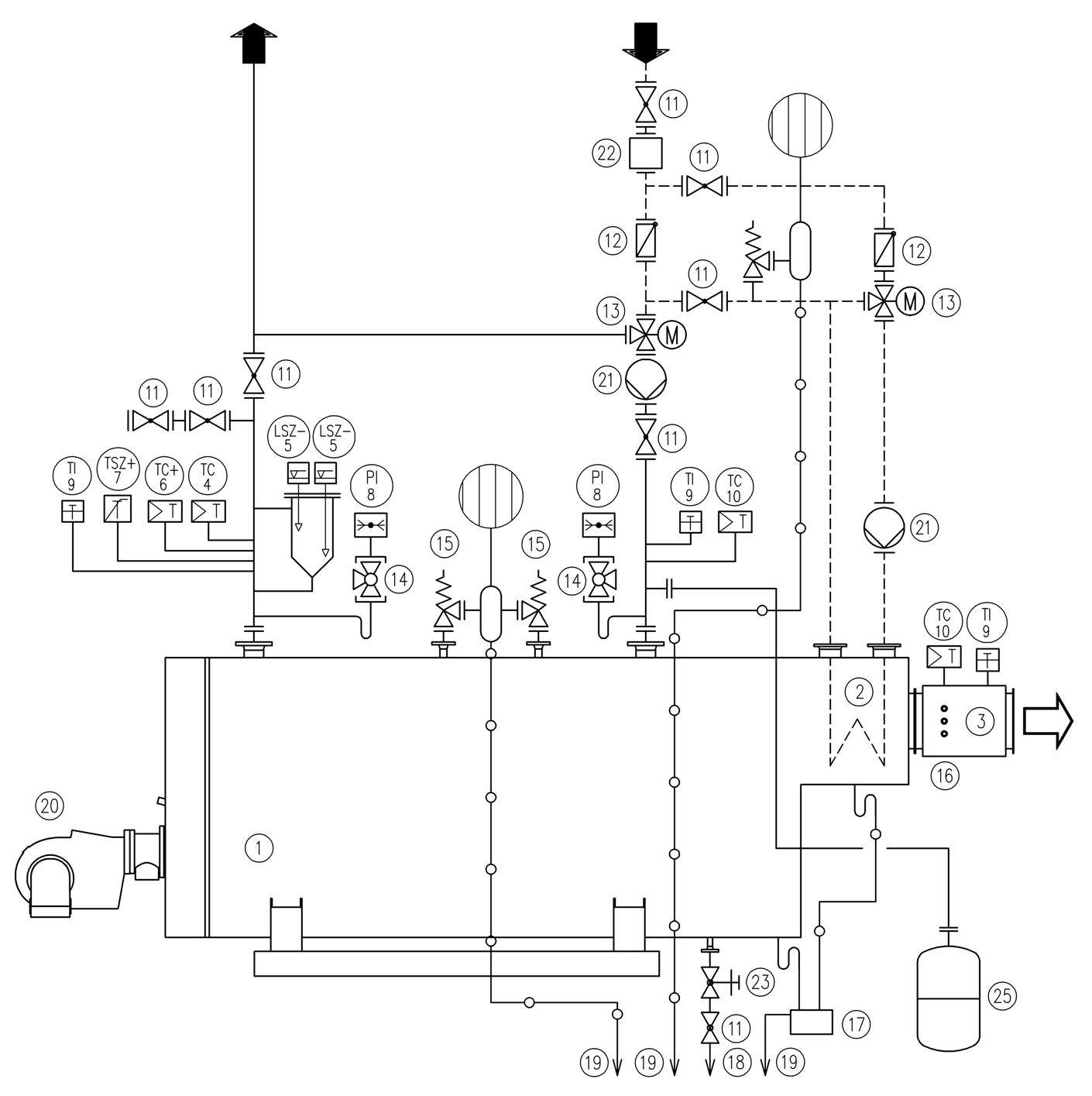 Схема подключения THH-I водогрейного котла на перегретой воде с экономайзером