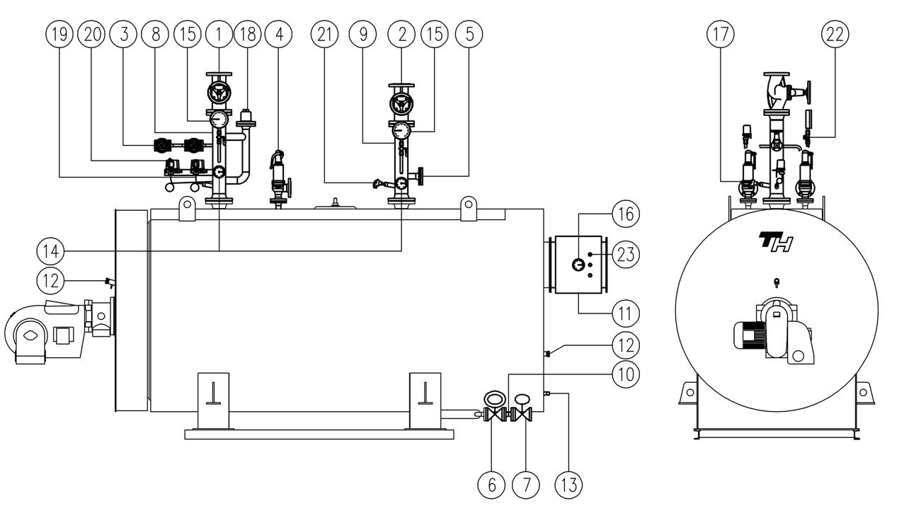 Комплект основного оборудования  thh-i водогрейного котла на перегретой воде